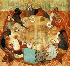 Vincent de Paul with poor at table