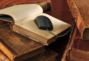 old books and mouse